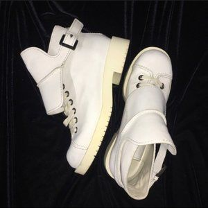 Jil Sander white combat boot with spats